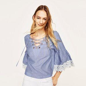 Zara Lace Up Striped Top